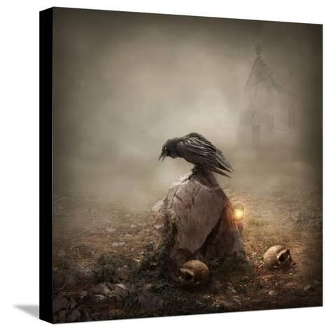 Crow Sitting on a Gravestone-egal-Stretched Canvas Print
