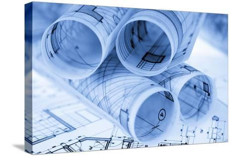 Rolls of Architecture Blueprints and House Plans--Vladimir--Stretched Canvas Print