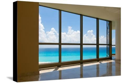 View of Tropical Beach Through Hotel Windows-nfsphoto-Stretched Canvas Print
