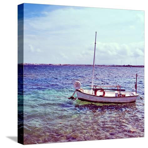 Picture of a Fishing Boat in Estany Des Peix Lagoon, in Formentera, Balearic Islands, Spain-nito-Stretched Canvas Print