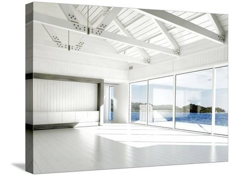 Empty White Room with Large Windows and Scenic View-PlusONE-Stretched Canvas Print
