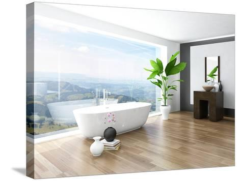 Modern Bathroom Interior with White Bathtub Against Huge Window with Landscape View-PlusONE-Stretched Canvas Print