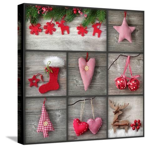 Collage of Christmas Photos over Grey Wood Background-egal-Stretched Canvas Print