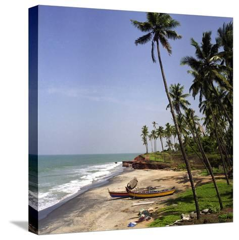 A Beach in Kerala, India, with Two Small Fishing Boats-PaulCowan-Stretched Canvas Print