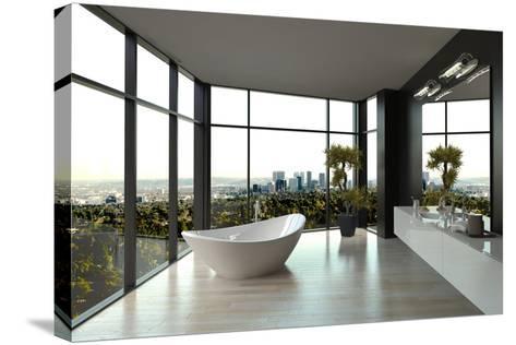 Modern White Luxury Bathroom Interior-PlusONE-Stretched Canvas Print