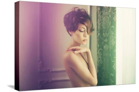 Fashion Art Photo of Young Sensual Lady in Classical Interior-George Mayer-Stretched Canvas Print
