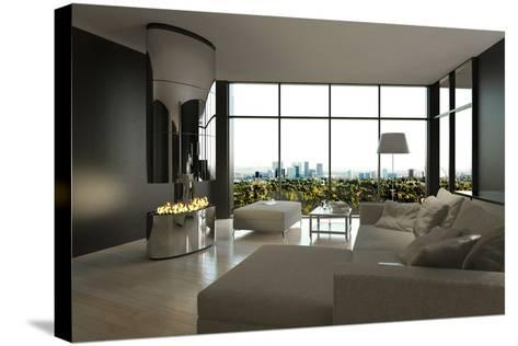 Living Room Interior with Open Fireplace and Floor to Ceiling Windows-PlusONE-Stretched Canvas Print