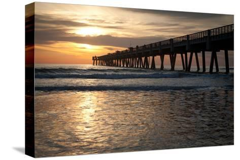 Jacksonville Beach, Florida Fishing Pier in Early Morning.-RobWilson-Stretched Canvas Print