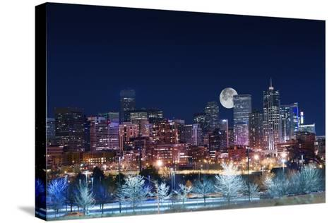 Denver Skyline West-duallogic-Stretched Canvas Print