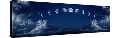 Nine Phases of the Full Growth Cycle of the Moon-korionov-Stretched Canvas Print