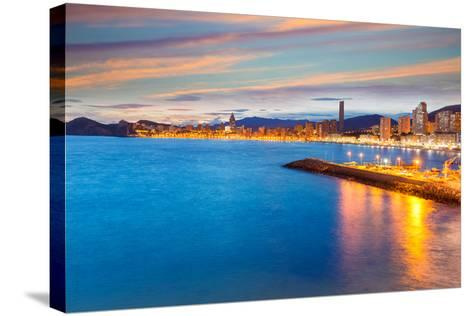 Benidorm Alicante Sunset Playa De Poniente Beach in Spain Valencian Community-holbox-Stretched Canvas Print