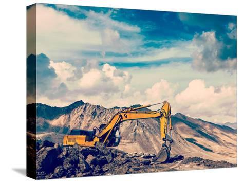 Vintage Retro Effect Filtered Hipster Style Travel Image of Road Construction in Mountains Himalaya-f9photos-Stretched Canvas Print