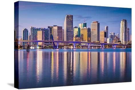 Miami, Florida, USA Downtown Skyline at Dawn.-SeanPavonePhoto-Stretched Canvas Print