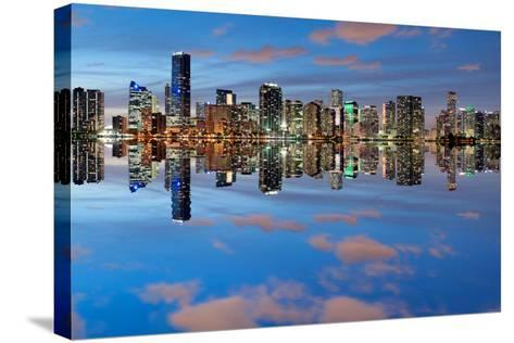 Miami Skyline Seen from Key Biscayne at Dusk with Beautiful Reflections-badboo-Stretched Canvas Print