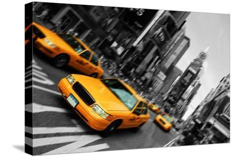 New York City Taxi, Blur Focus Motion, times Square-upthebanner-Stretched Canvas Print