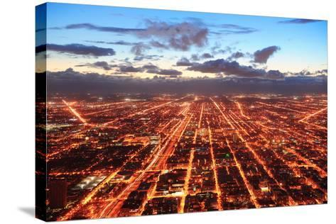 Chicago Downtown Aerial Panorama View at Dusk with Skyscrapers and City Skyline.-Songquan Deng-Stretched Canvas Print