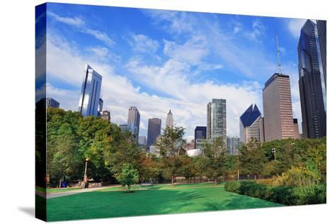 Chicago City Downtown Urban Skyline with Skyscrapers and Cloudy Blue Sky over Park.-Songquan Deng-Stretched Canvas Print