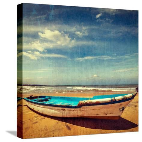 Vintage Retro Hipster Style Travel Image of Boat on a Beach, India  with Grunge Texture Overlaid-f9photos-Stretched Canvas Print