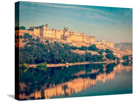Vintage Retro Hipster Style Travel Image of Famous Rajasthan Landmark - Amer (Amber) Fort, Rajastha-f9photos-Stretched Canvas Print