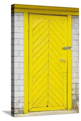 Yellow Old Wooden Door-vilax-Stretched Canvas Print