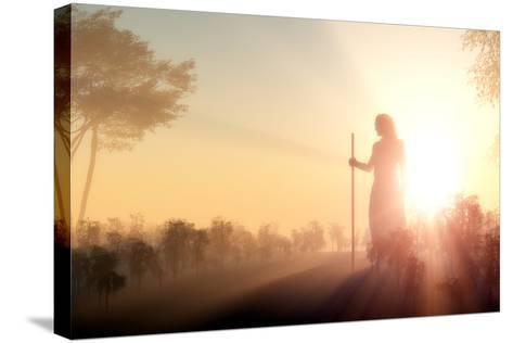 Silhouette of Jesus in the Sunlight-1971yes-Stretched Canvas Print