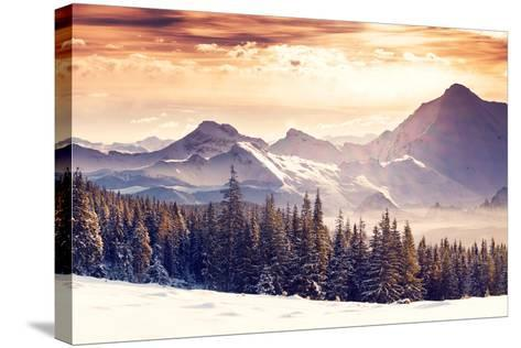 Fantastic Evening Winter Landscape-Leonid Tit-Stretched Canvas Print