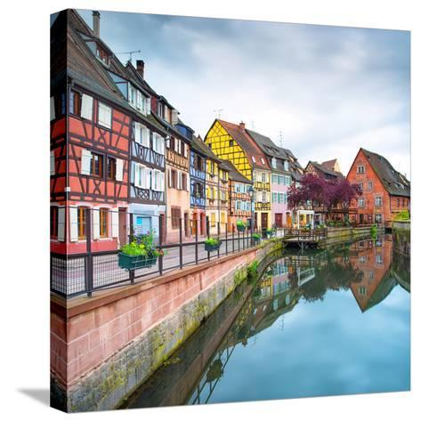 Colmar, Petit Venice, Water Canal and Traditional Houses. Alsace, France.-stevanzz-Stretched Canvas Print