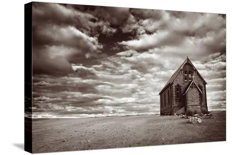 Abandoned Church in the Desert, with Stormy Skies-Robyn Mackenzie-Stretched Canvas Print