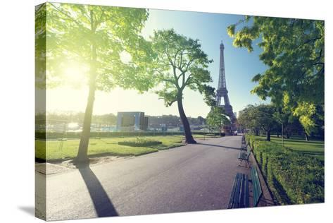 Sunny Morning and Eiffel Tower, Paris, France-Iakov Kalinin-Stretched Canvas Print