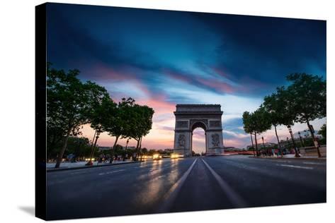 Arc De Triomphe Paris City at Sunset-dellm60-Stretched Canvas Print