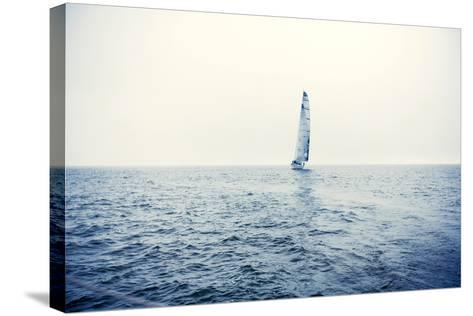 Sailing Ship Yachts with White Sails-Andrew Bayda-Stretched Canvas Print