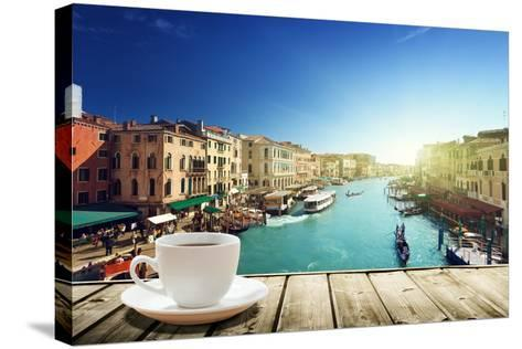 Coffee on Table and Venice in Sunset Time, Italy-Iakov Kalinin-Stretched Canvas Print