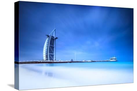 Burj Al Arab Hotel on Jumeirah Beach in Dubai, Modern Architecture, Luxury Beach Resort, Summer Vac-Anna Omelchenko-Stretched Canvas Print