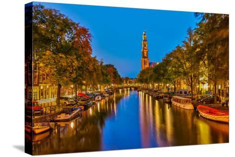 Western Church on Prinsengracht Canal in Amsterdam-sborisov-Stretched Canvas Print