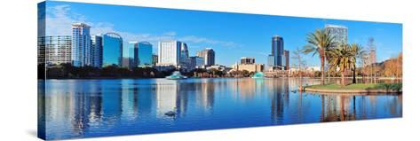 Orlando Lake Eola in the Morning with Urban Skyscrapers and Clear Blue Sky.-Songquan Deng-Stretched Canvas Print