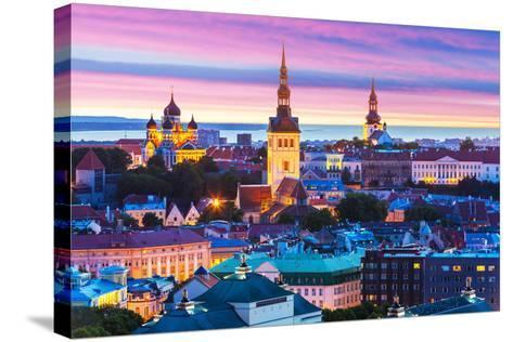 Evening Scenery of Tallinn, Estonia-Scanrail-Stretched Canvas Print