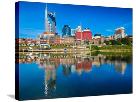 Nashville, Tennessee Downtown Skyline at Cumberland River.-SeanPavonePhoto-Stretched Canvas Print