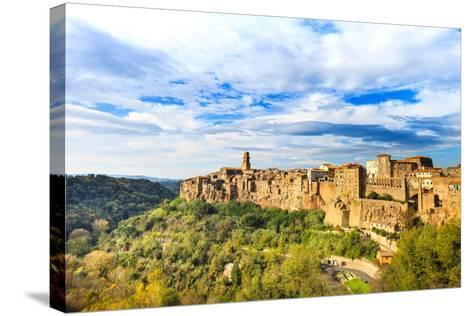 Tuscany, Pitigliano Medieval Village Panorama. Italy-stevanzz-Stretched Canvas Print