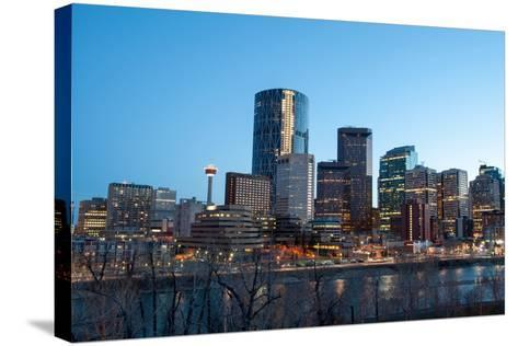 Calgary Skyline at Night-Jeff Whyte Photography-Stretched Canvas Print
