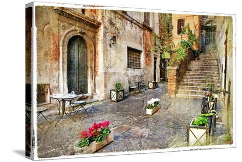 Pictorial Old Streets of Italy,Rome. Artistic Picture in Retro Style-Maugli-l-Stretched Canvas Print