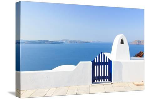 Santorini Balconny with View at the Aegean Sea-Netfalls-Stretched Canvas Print