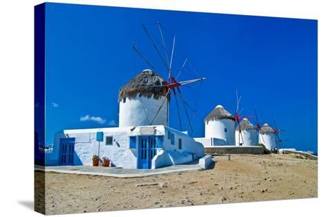Windmills of Sunny Mykonos (Greece, Cyclades)-Maugli-l-Stretched Canvas Print