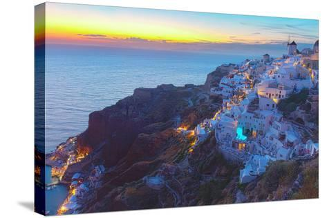 Oia Village at Night, Santorini-neirfy-Stretched Canvas Print