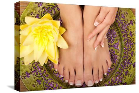 Pedicure and Manicure Spa with Beautiful Flowers-BVDC-Stretched Canvas Print