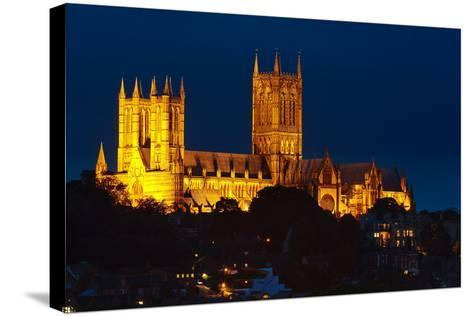 Lincoln Cathedral at Night-Stocksolutions-Stretched Canvas Print