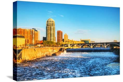 Downtown Minneapolis, Minnesota at Night Time and Saint Anthony Falls-photo.ua-Stretched Canvas Print