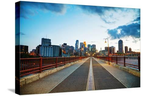 Downtown Minneapolis, Minnesota at Night Time-photo.ua-Stretched Canvas Print