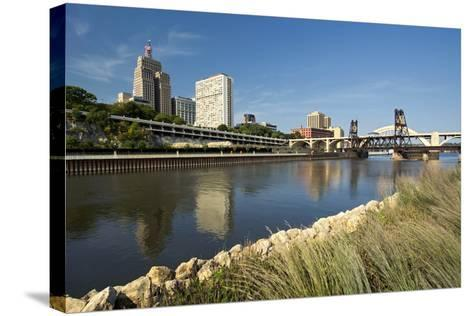 Railroad Track and Robert Street Bridge from Raspberry Island. Downtown Saint Paul, Minnesota-PhotoImages-Stretched Canvas Print