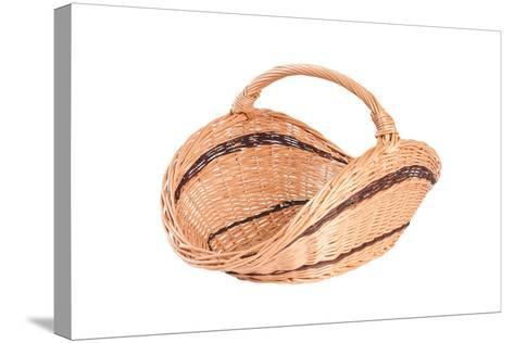 Empty Wicker Basket Isolated on White  Background-Yarkovoy-Stretched Canvas Print