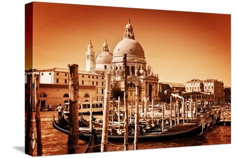 Venice, Italy. Gondolas on Grand Canal and Basilica Santa Maria Della Salute. Vintage Style, Golden-Michal Bednarek-Stretched Canvas Print